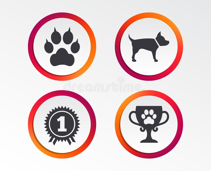 宠爱图标 有传动器标志的猫爪子 库存例证