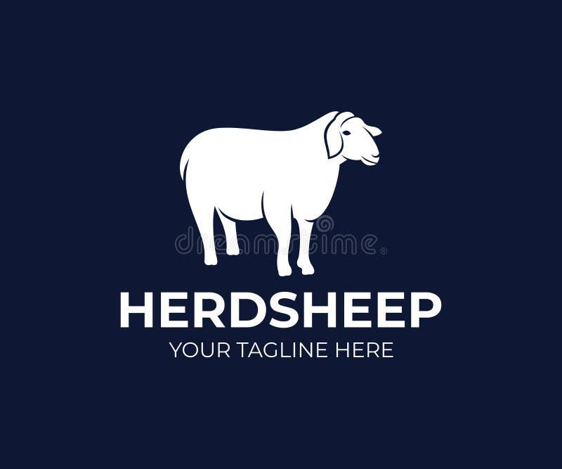 宠爱绵羊或农业动物,商标设计 大农场、农场,畜牧业,牧业和畜牧业,传染媒介设计 库存例证