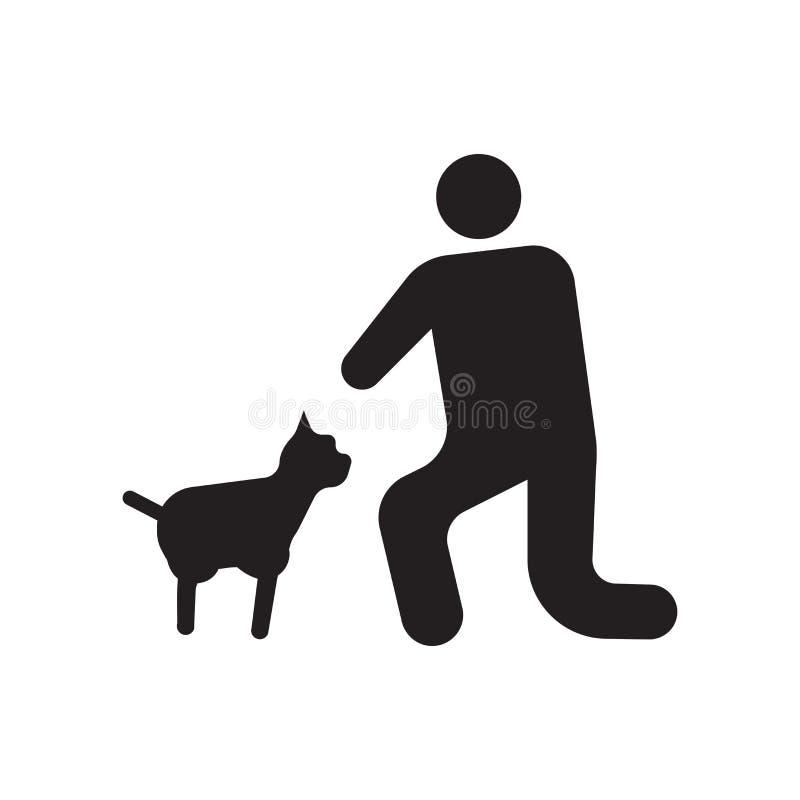 宠爱象在白色背景和标志隔绝的传染媒介标志,宠物商标概念 皇族释放例证
