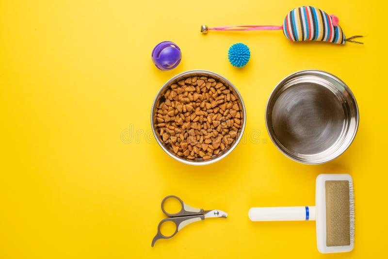 宠物、猫、猫生活平的位置食物和辅助部件,与设计的空间,在黄色背景 免版税库存图片
