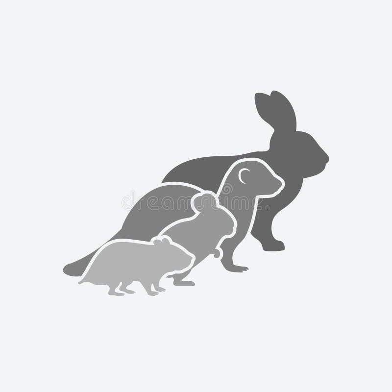 宠物剪影 兔子,白鼬,黄鼠,仓鼠 宠物商店或兽医诊所商标  皇族释放例证