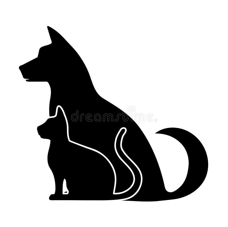 宠物剪影  向量例证