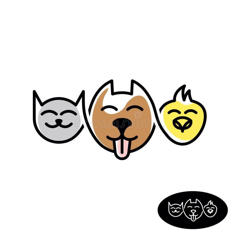 宠物商店商标 滑稽的猫、狗和鸟头线性样式 皇族释放例证
