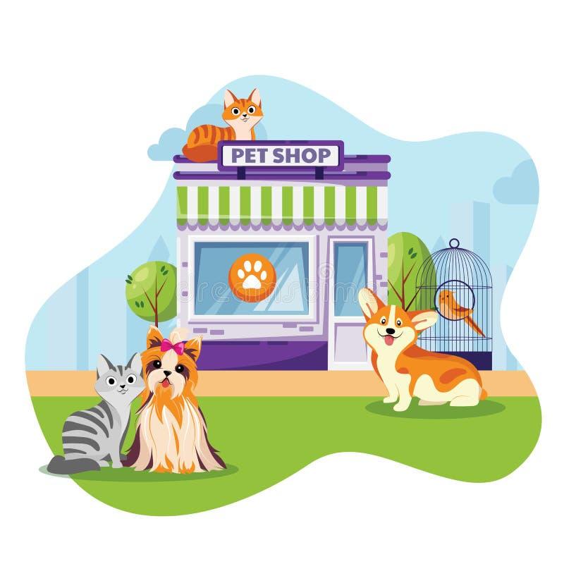宠物商店或狩医诊所门面传染媒介平的动画片例证 坐在动物工厂建筑物附近的猫和狗 库存例证