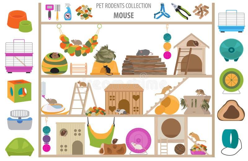 宠物啮齿目动物家庭辅助部件象在白色设置了平的样式被隔绝 医疗保健汇集 创造自己infographic关于试验品 向量例证