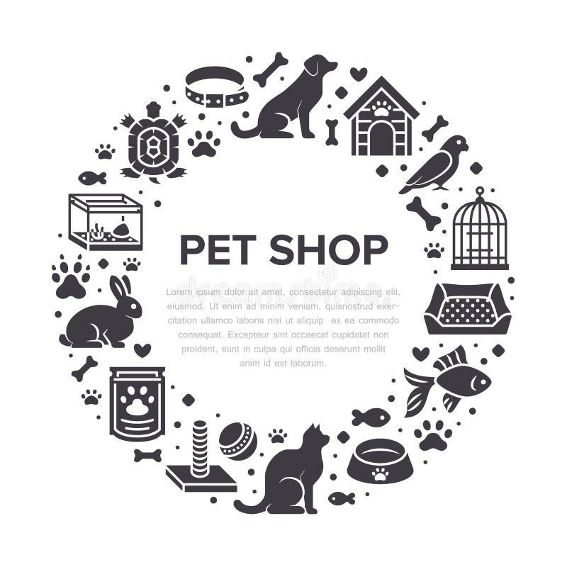 宠物店传染媒介与平的剪影象的圈子横幅 犬小屋,猫食,鸟,兔子,鱼,动物爪子,碗 库存例证
