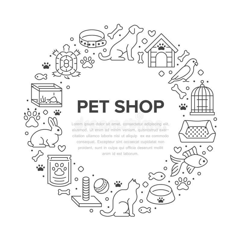 宠物店传染媒介与平的线象的圈子横幅 犬小屋,猫食,鸟笼,兔子,鱼水族馆,动物爪子 库存例证