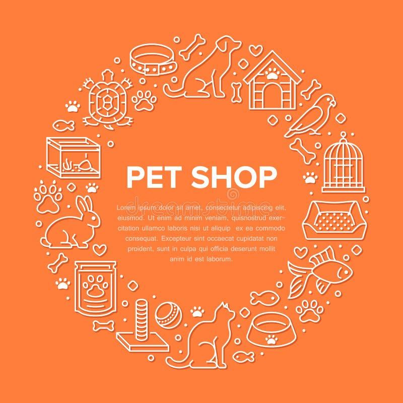 宠物店传染媒介与平的线象的圈子横幅 犬小屋,猫食,鸟,兔子,鱼,动物爪子,碗 向量例证
