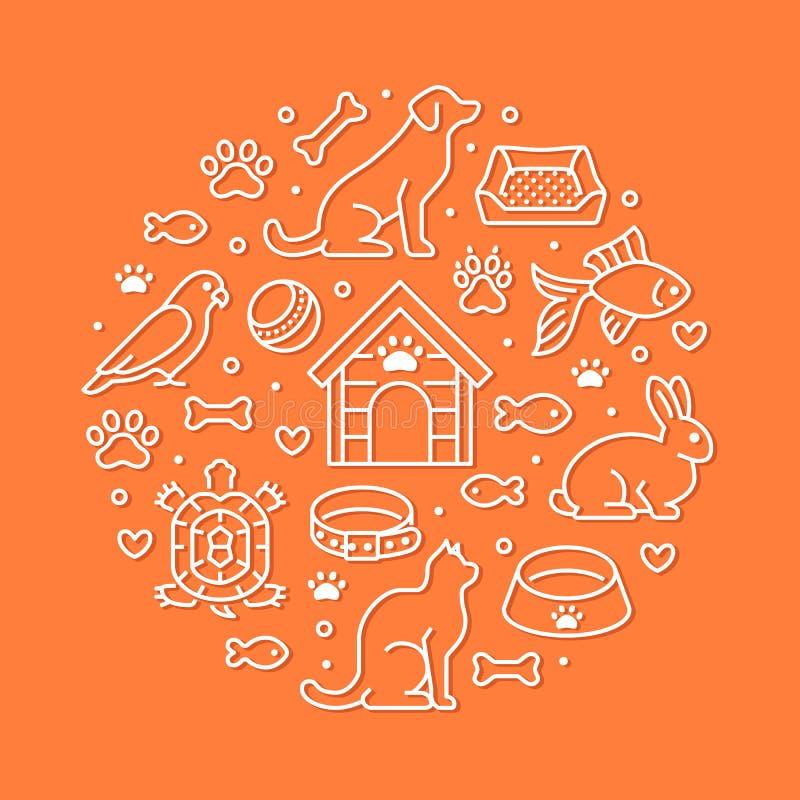 宠物店传染媒介与平的线象的圈子横幅 犬小屋,猫食,鸟,兔子,鱼,动物爪子,碗 库存例证