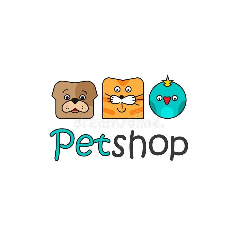 宠物店传染媒介商标模板,概述颜色狗,猫,鸟 库存例证