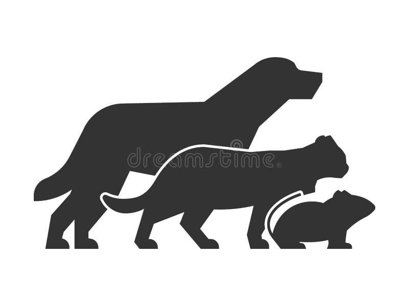 宠物店和兽医诊所的黑商标 皇族释放例证