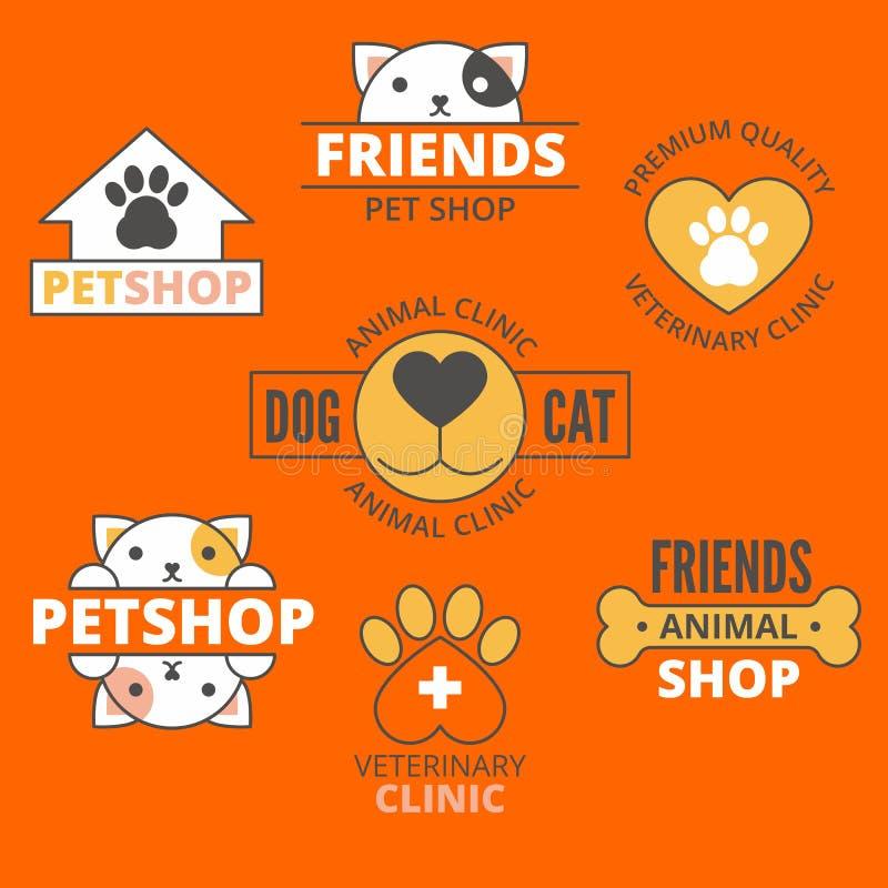 宠物店和诊所商标、狗&猫商标,动物商标,宠爱象 向量例证