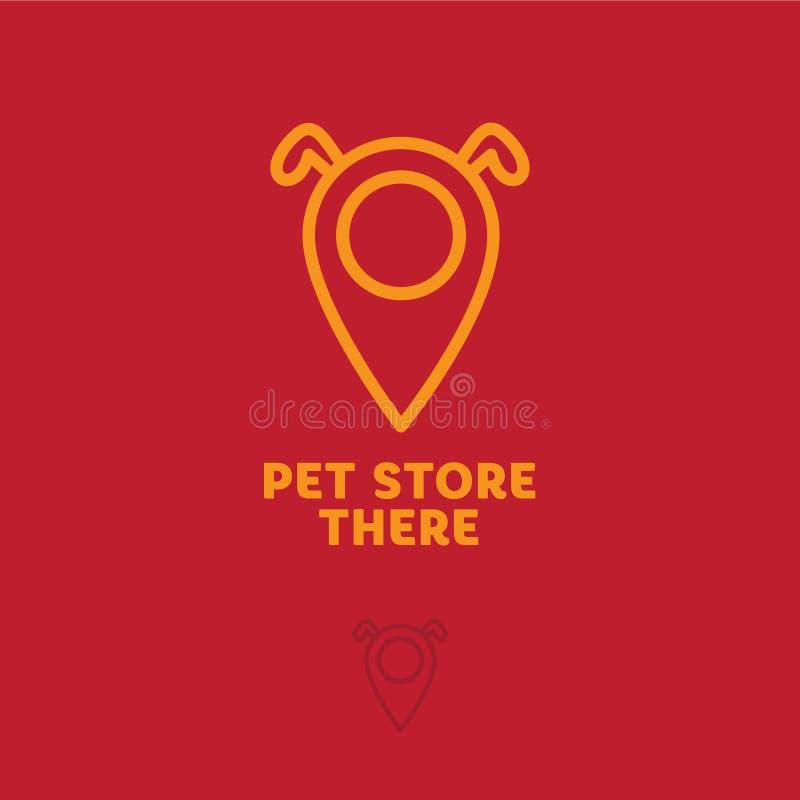 宠物店商标喜欢地图标志 兽医商标 在地图c狗` s耳朵的标志在红色背景 向量例证