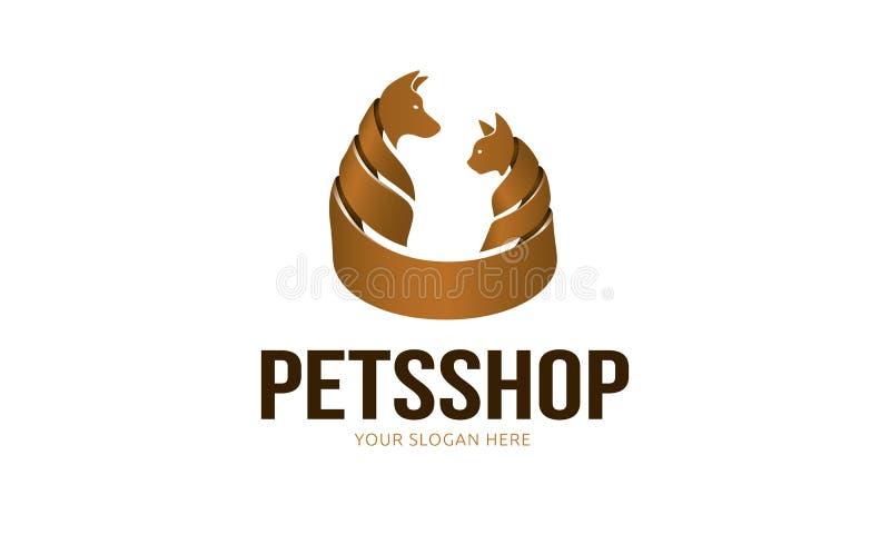 宠物店商标模板 皇族释放例证