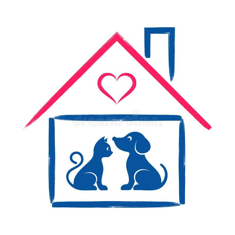 宠物店或诊所标志 皇族释放例证