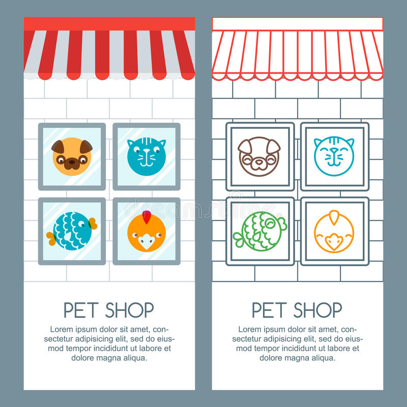 宠物店,宠物照管,兽医概念 传染媒介横幅、海报或者飞行物模板 库存例证