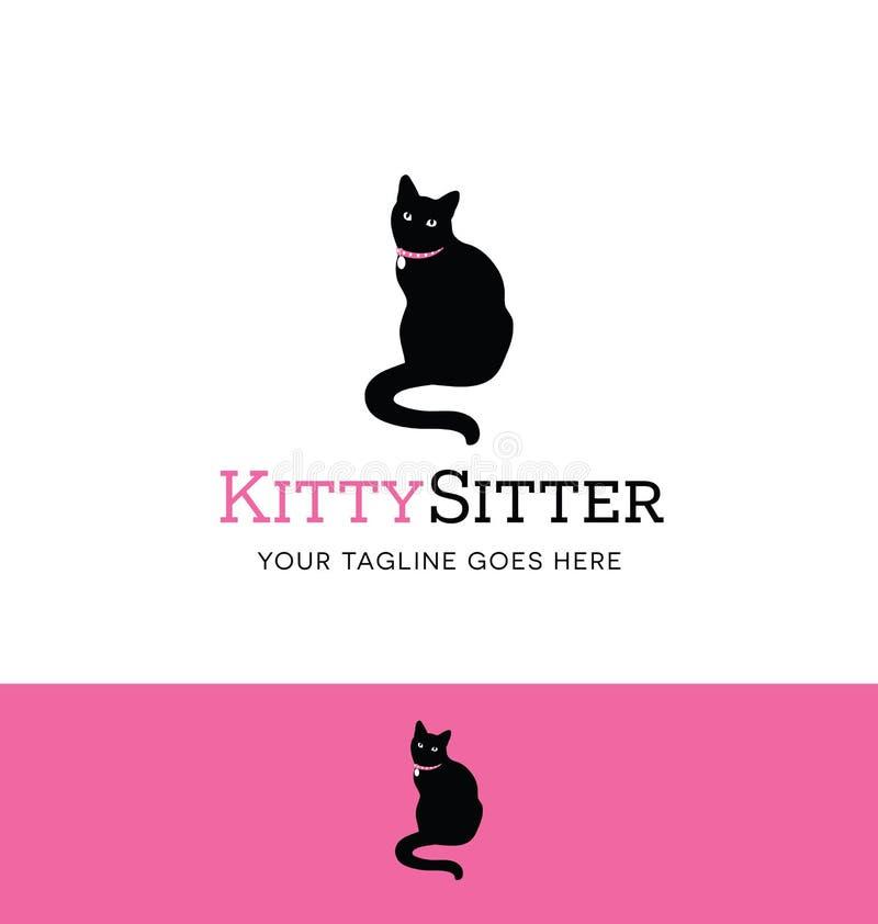 宠物开会或宠物照管事务的坐的猫商标 皇族释放例证