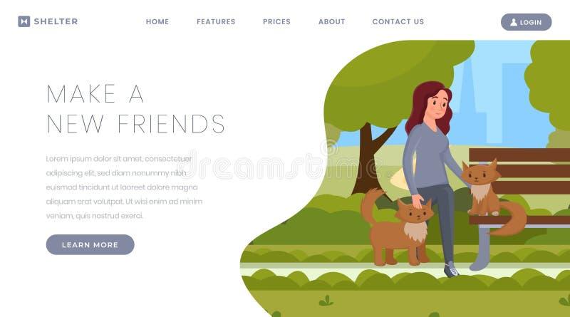 宠物收养传染媒介着陆页模板 动画片女孩,照顾逗人喜爱的猫,小猫的女性志愿者在公园 向量例证