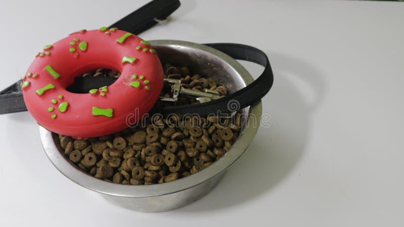 宠物是朋友概念 宠物碗和橡胶玩具有绳索的狗或猫的在白色背景 免版税图库摄影