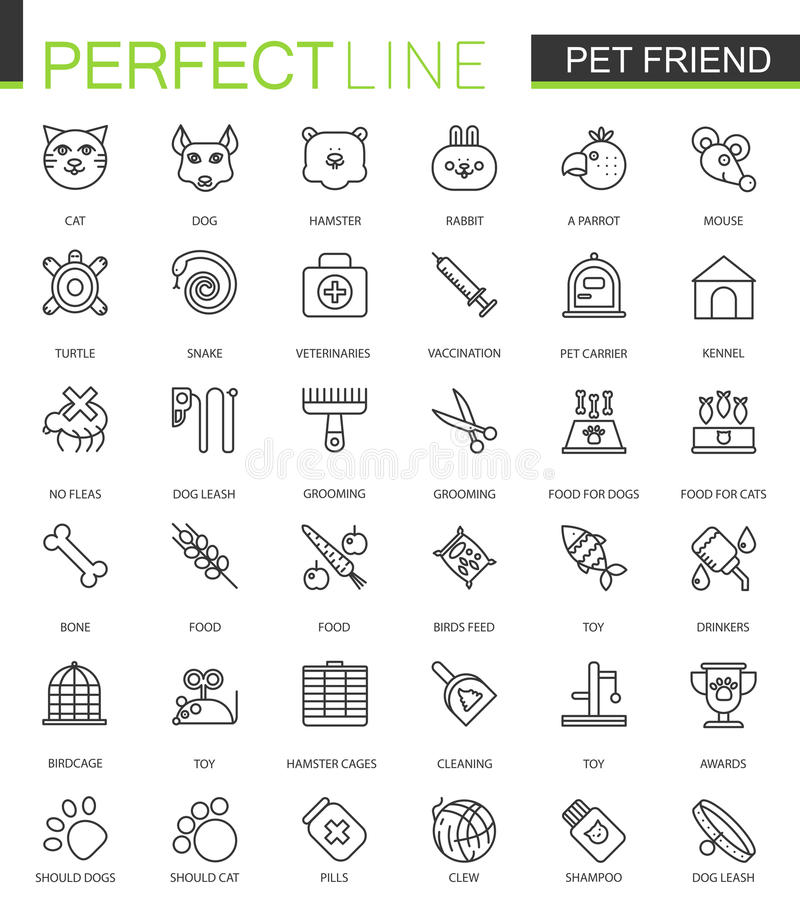 宠物朋友稀薄的线被设置的网象 宠物店冲程概述象设计 库存例证