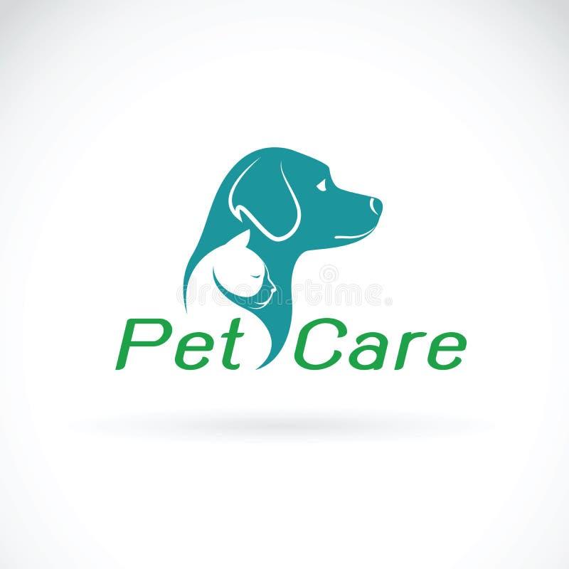 宠物照管在白色背景的商店设计传染媒介  狗和猫 向量例证