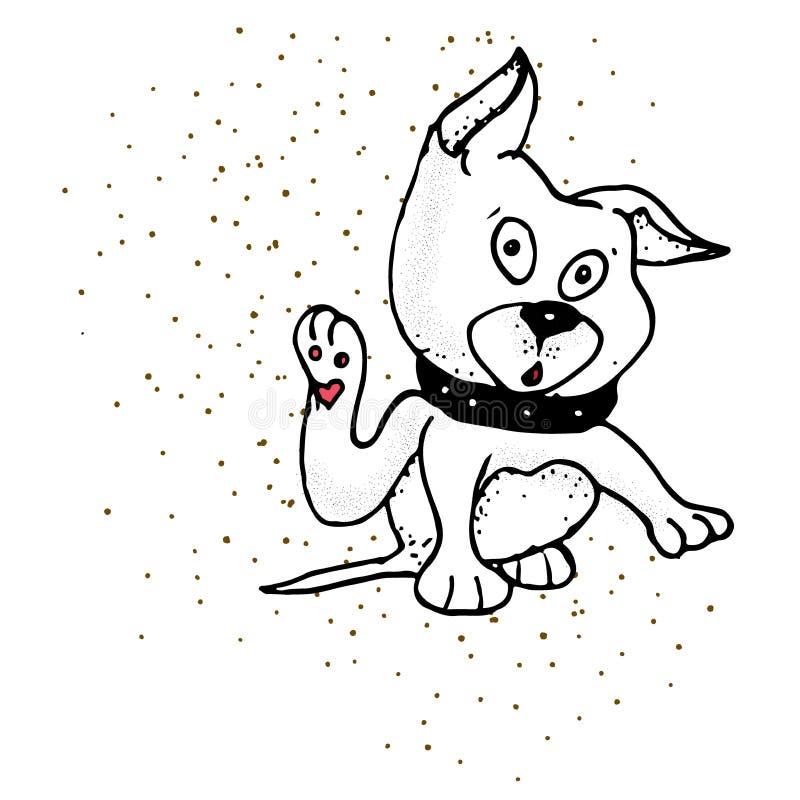 宠物爪子-乱画动物园传染媒介舱口盖象的手拉的标志 向量例证