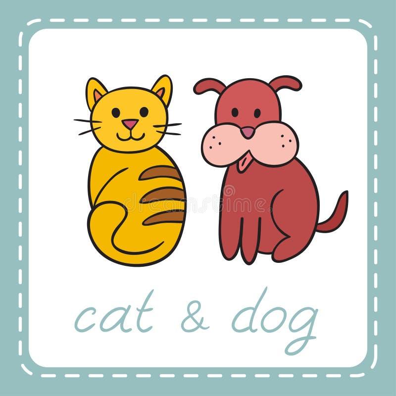 宠物狗和猫(小狗和小猫) 库存例证