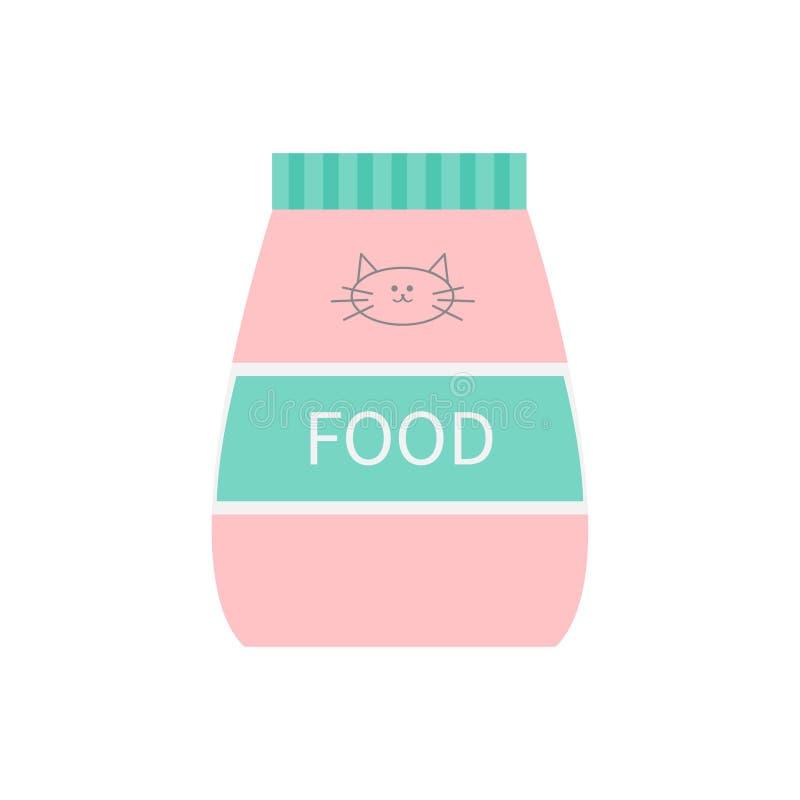 宠物猫干食物 输入塑料袋 全部赌注面孔线与髭的标志标志 鱼和肉味道 平的设计 白色backg 皇族释放例证
