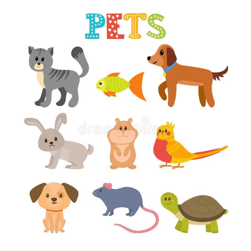 宠物设置了 在动画片样式的逗人喜爱的家庭动物 皇族释放例证