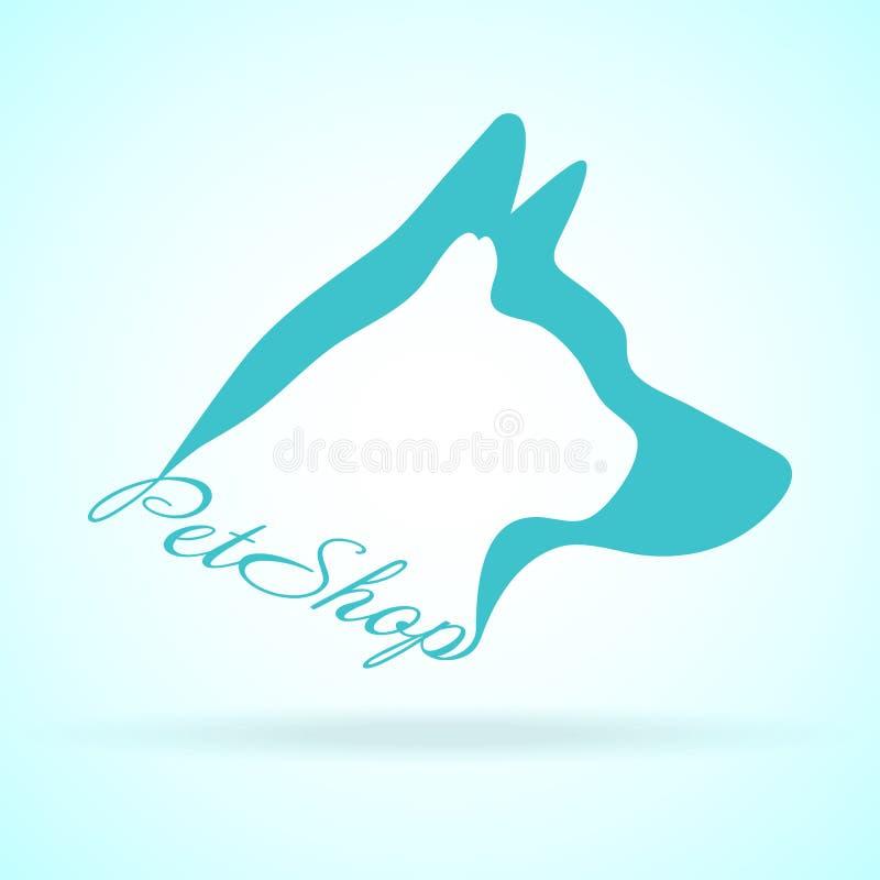 宠物设计的传染媒介图象在背景的 Petshop,狗,猫 动物商标 皇族释放例证