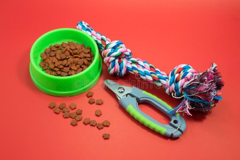 宠物辅助部件概念 碗用食物、钉子剪刀和绳索 免版税库存图片