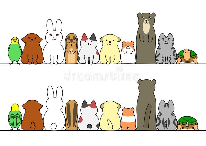 宠物连续与拷贝空间、前面和后面 向量例证