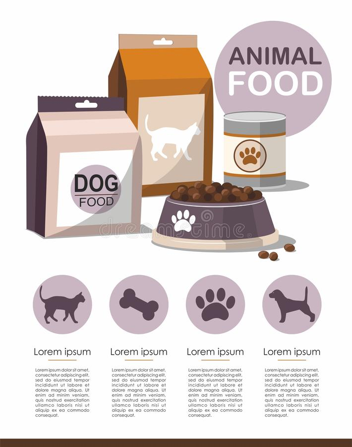 宠物食品 干燥食物宠物 infographic的传染媒介 皇族释放例证