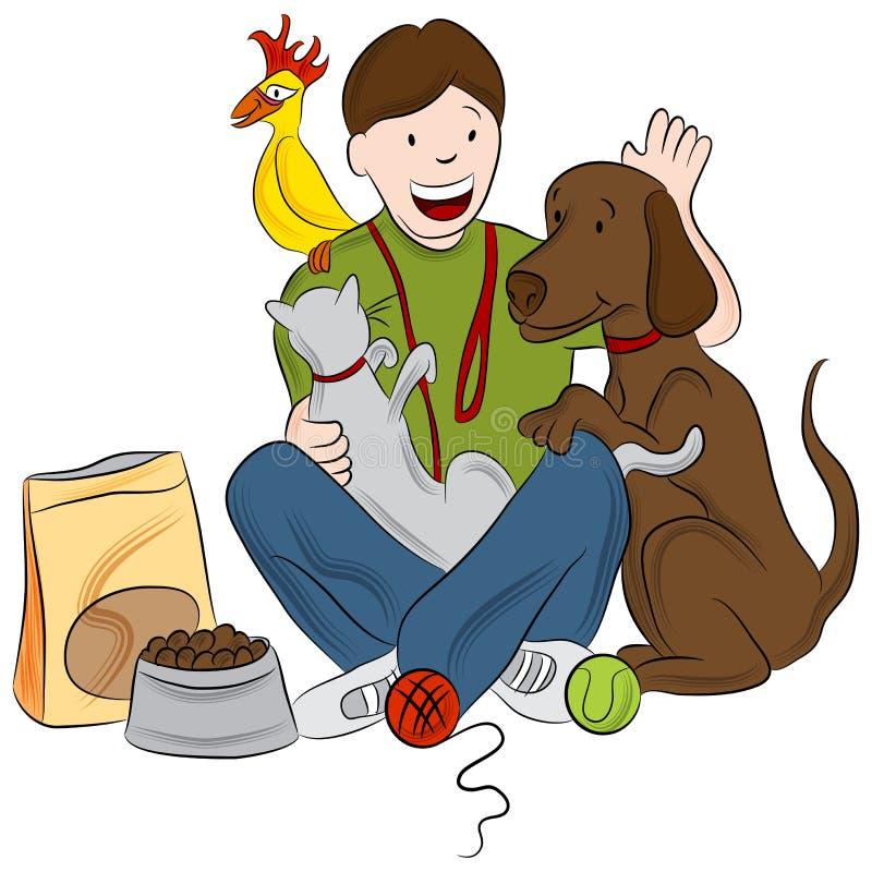 宠物临时替人照看孩子的人 向量例证