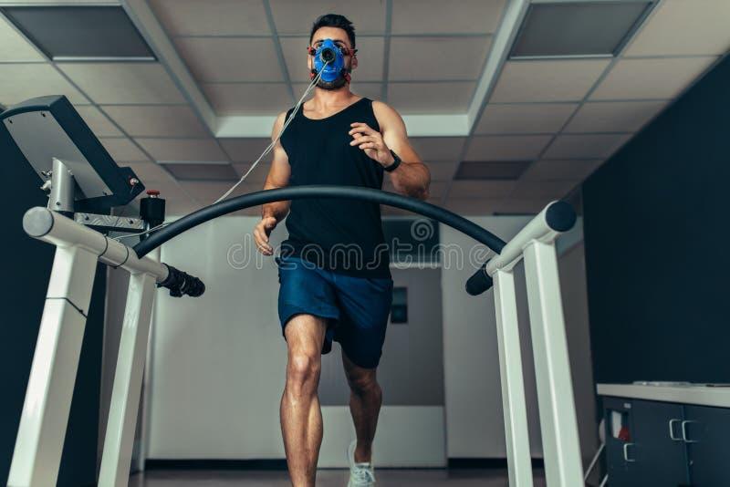 审查他的健身的运动员在体育实验室 免版税库存图片