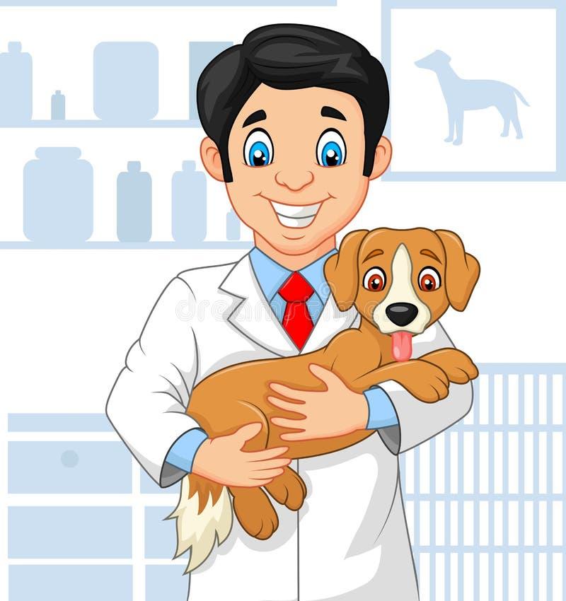 审查小狗的动画片兽医医生 库存例证