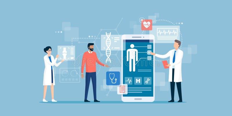 审查患者的医生使用一个医疗应用程序 向量例证