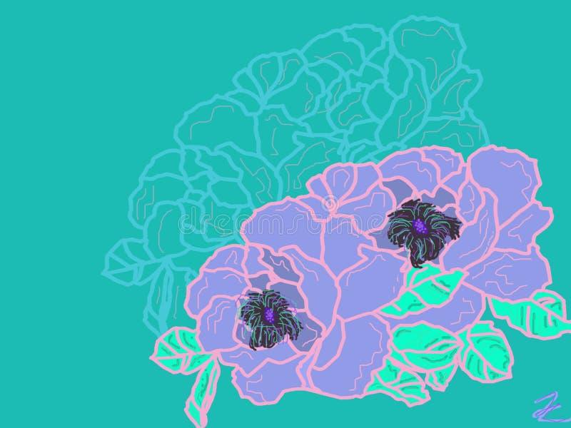 审美vaporwave软软地设计了美丽的花 库存例证
