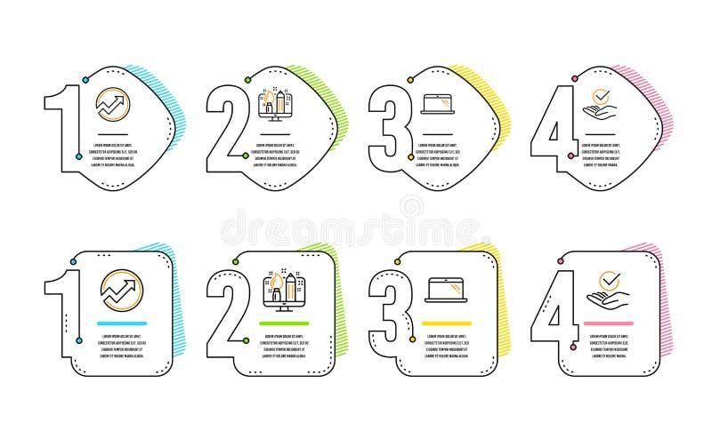审计、创造性的设计和膝上型计算机象集合 批准的标志 箭头图表,设计师,计算机 被核实的标志 ?? 向量例证