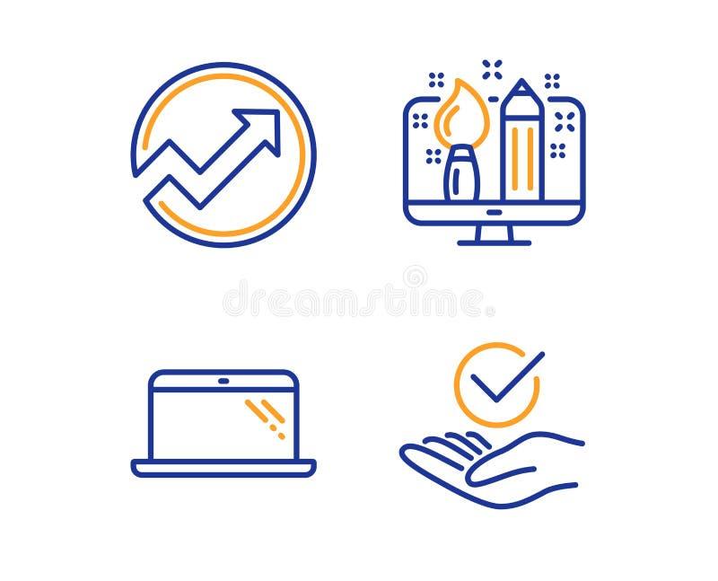 审计、创造性的设计和膝上型计算机象集合 批准的标志 箭头图表,设计师,计算机 被核实的标志 ?? 皇族释放例证