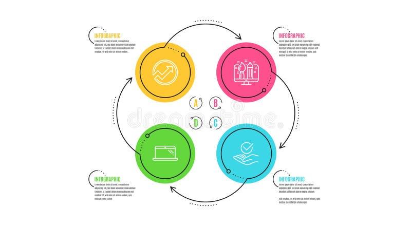 审计、创造性的设计和膝上型计算机象集合 批准的标志 箭头图表,设计师,计算机 被核实的标志 ?? 库存例证