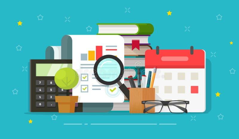 审计分析在桌面传染媒介例证,平的动画片会计,逻辑分析方法职场,质量的研究报告 库存例证