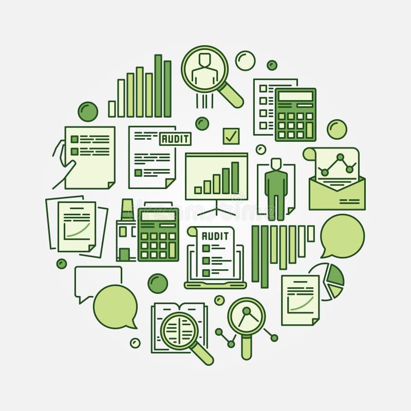 审计圆的绿色标志 向量例证