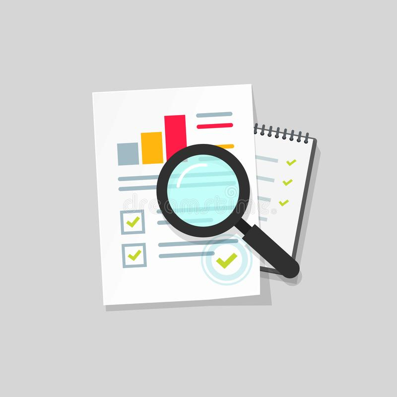 审计研究传染媒介象,平的在桌上的动画片纸财政报告数据分析,会计逻辑分析方法的概念 库存例证