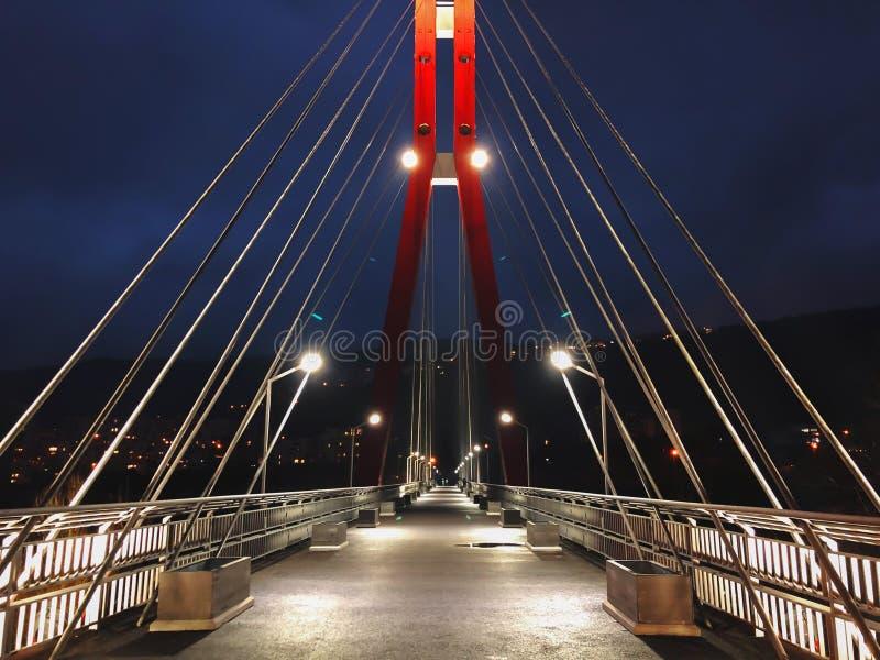 审阅有大钢缆绳的一座缆绳被停留的桥梁,在夜间的特写镜头的边路地区在明亮的光 库存照片