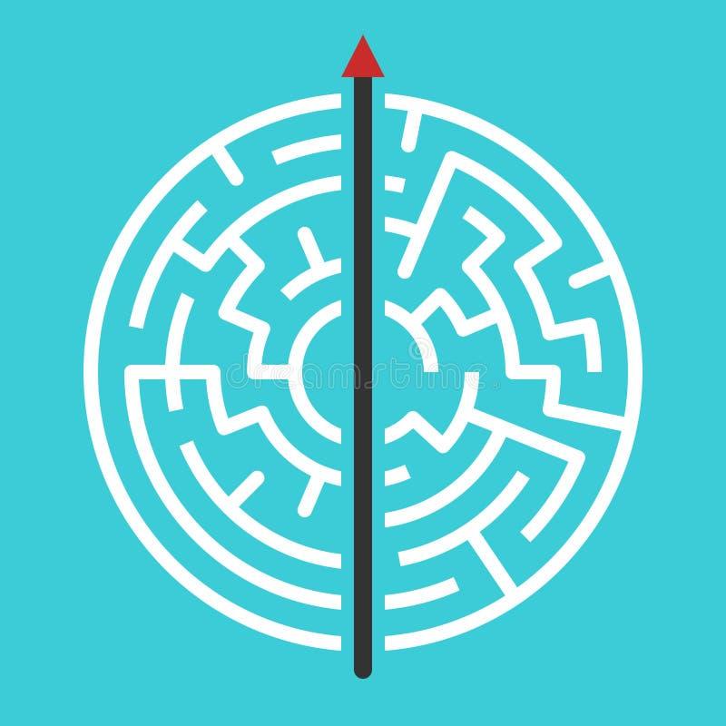 审阅迷宫的箭头 简单的直接的解答、创造性、力量、赌气、决定和勇气 向量例证