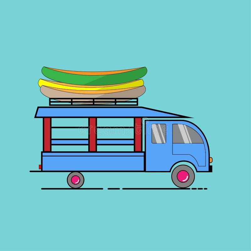 客人的蓝色出租汽车服务在老挝 免版税库存图片