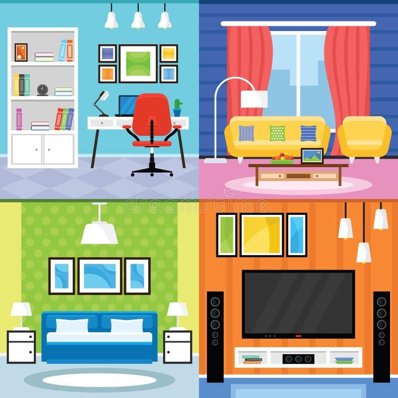 客厅、卧室和内政部的傅家庭室内设计 免版税库存照片
