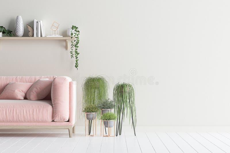 客厅内墙嘲笑与天鹅绒沙发和植物 皇族释放例证