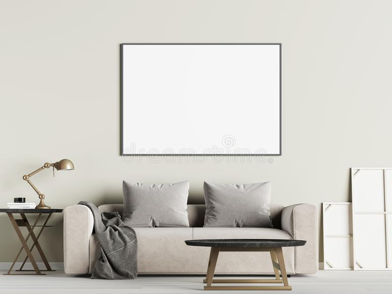 客厅内墙嘲笑与沙发、枕头和灯在白色背景 库存例证